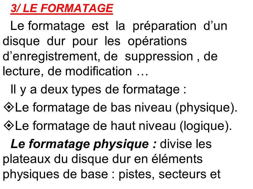 Il y a deux types de formatage :