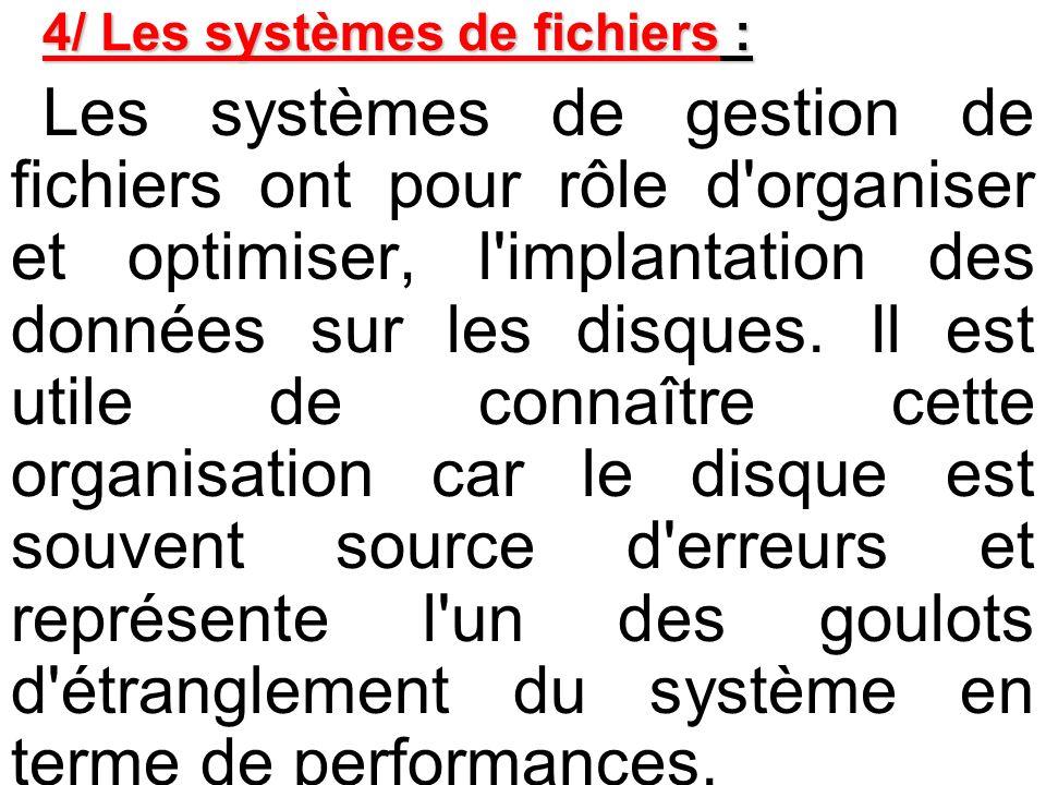 4/ Les systèmes de fichiers :