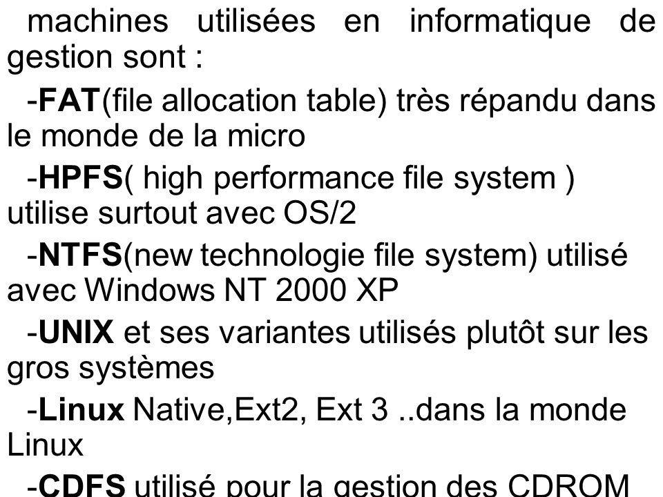 machines utilisées en informatique de gestion sont :