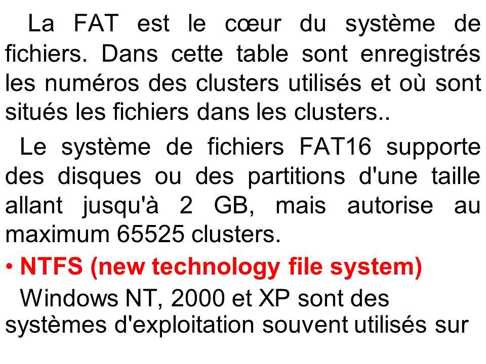 La FAT est le cœur du système de fichiers