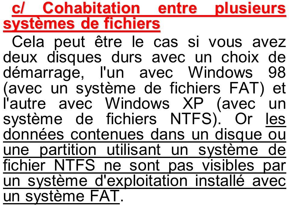 c/ Cohabitation entre plusieurs systèmes de fichiers