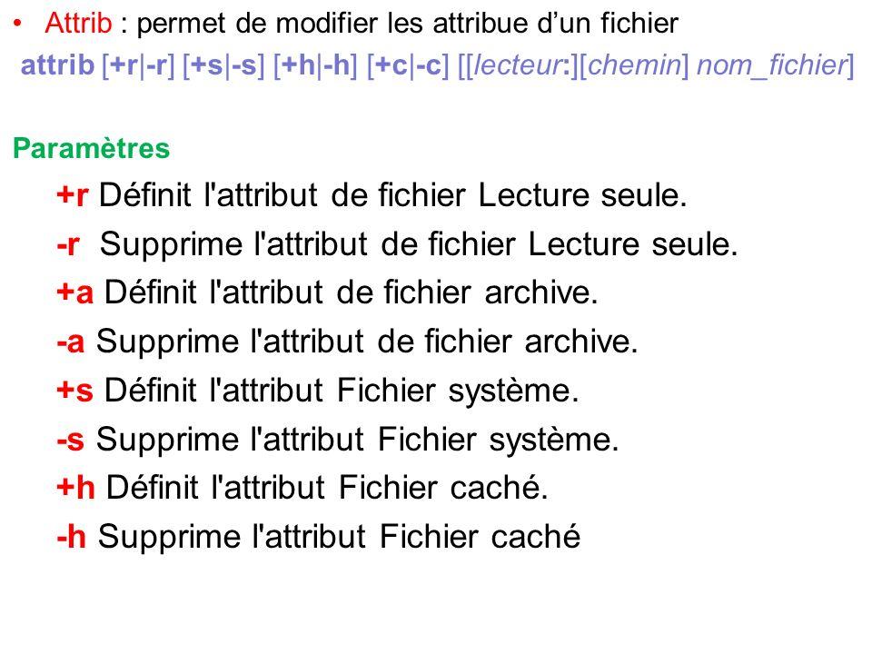 +r Définit l attribut de fichier Lecture seule.