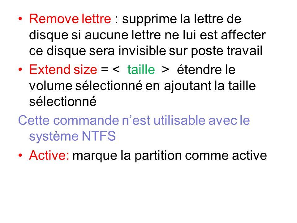 Remove lettre : supprime la lettre de disque si aucune lettre ne lui est affecter ce disque sera invisible sur poste travail