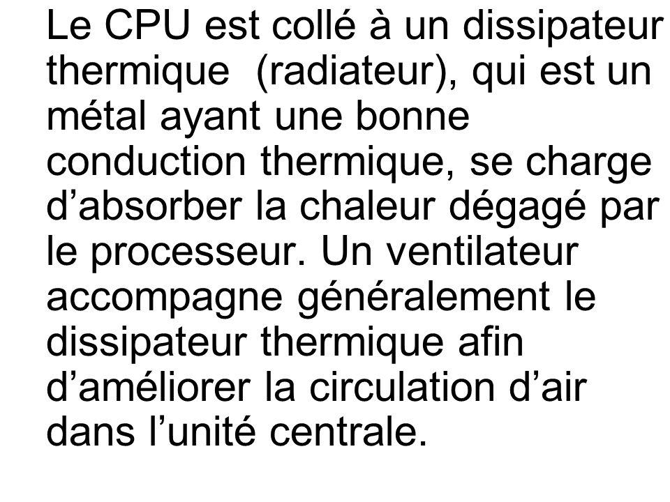 Le CPU est collé à un dissipateur thermique (radiateur), qui est un métal ayant une bonne conduction thermique, se charge d'absorber la chaleur dégagé par le processeur.