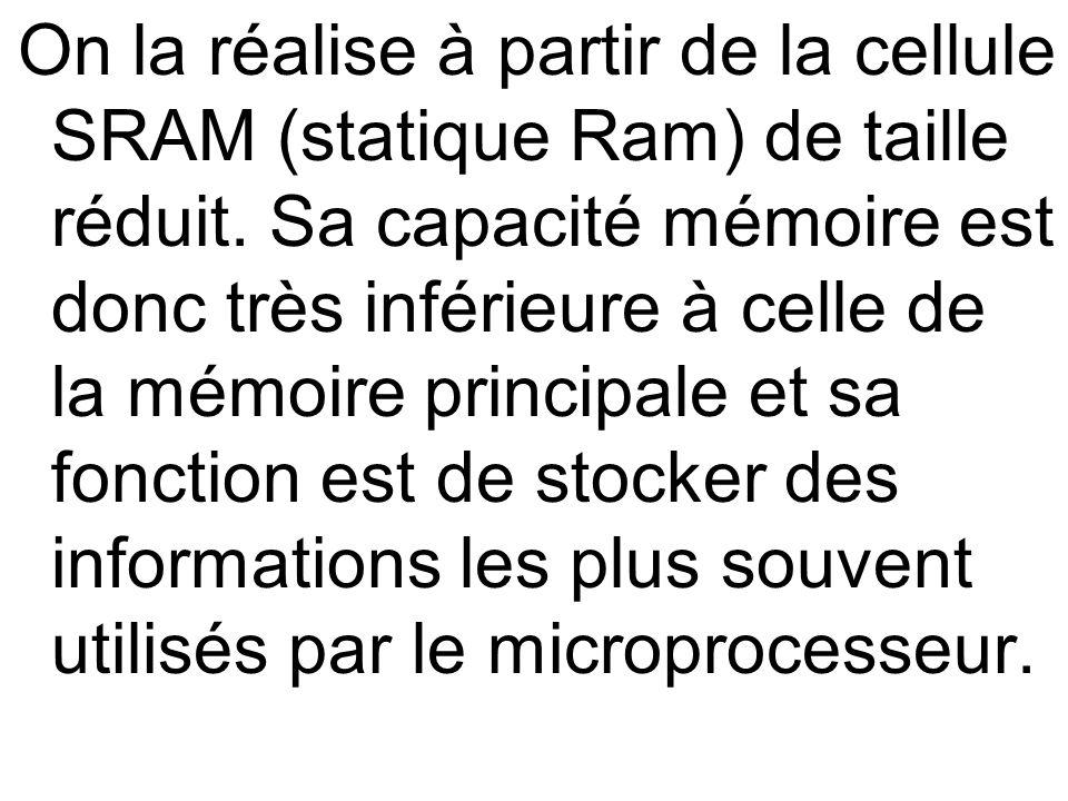 On la réalise à partir de la cellule SRAM (statique Ram) de taille réduit.
