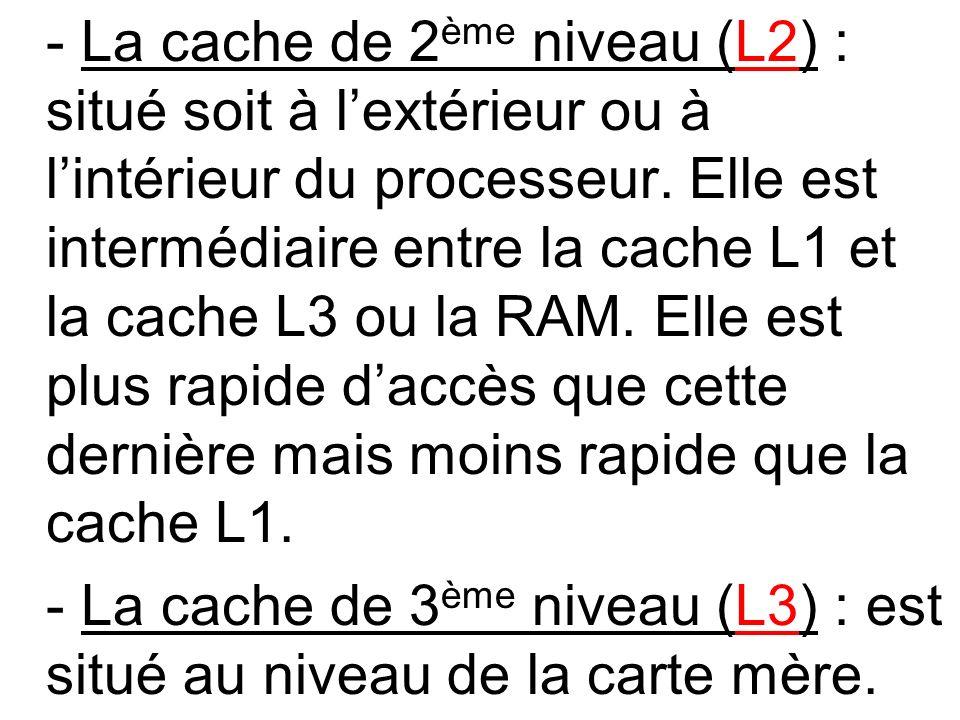 - La cache de 3ème niveau (L3) : est situé au niveau de la carte mère.