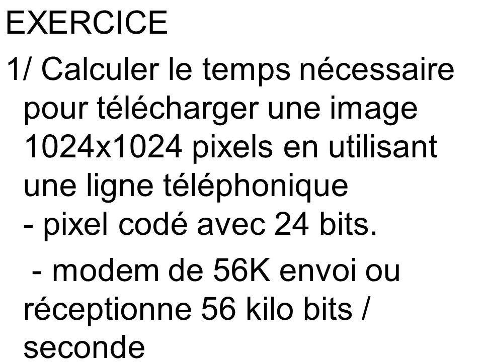 EXERCICE 1/ Calculer le temps nécessaire pour télécharger une image 1024x1024 pixels en utilisant une ligne téléphonique - pixel codé avec 24 bits.