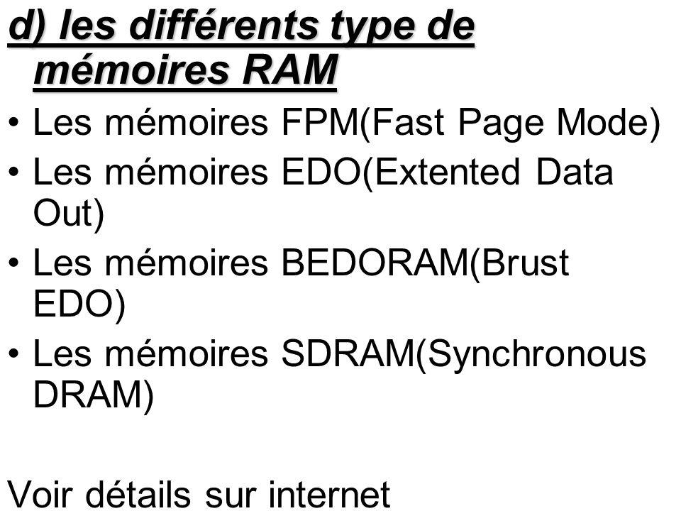 d) les différents type de mémoires RAM