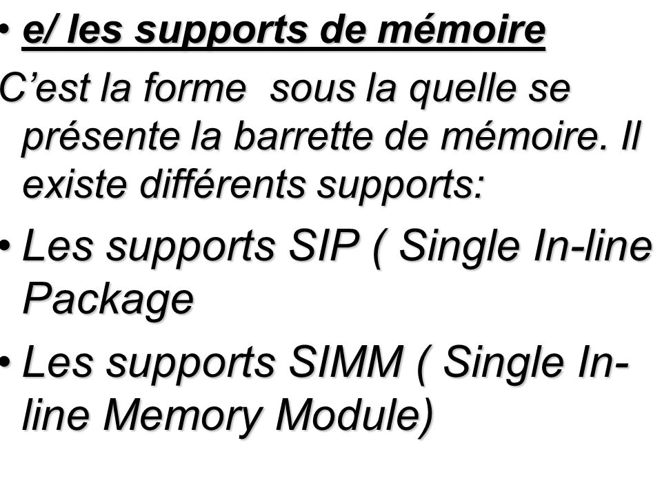 Les supports SIP ( Single In-line Package