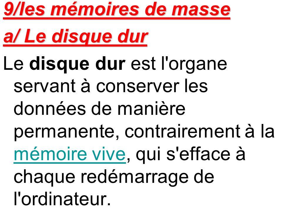 9/les mémoires de masse a/ Le disque dur