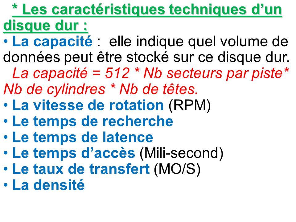 * Les caractéristiques techniques d'un disque dur :