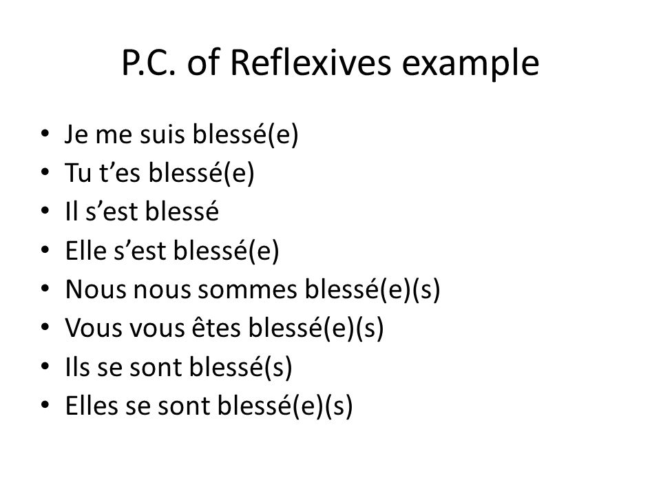 P.C. of Reflexives example