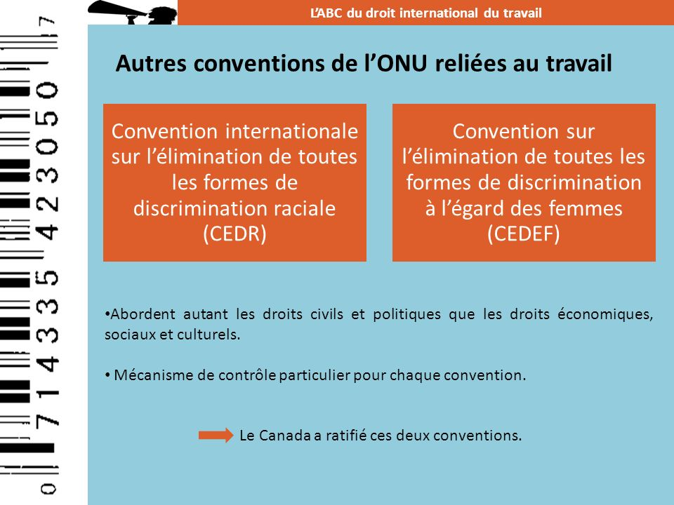 Autres conventions de l'ONU reliées au travail