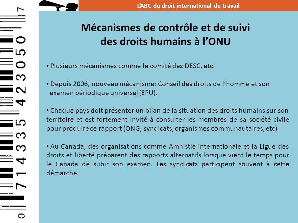 Mécanismes de contrôle et de suivi des droits humains à l'ONU