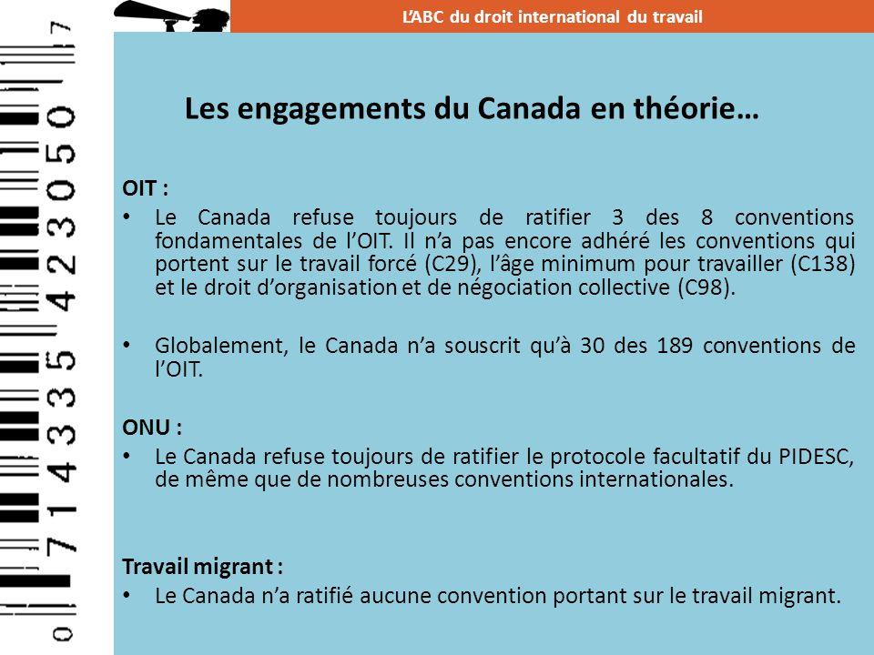 Les engagements du Canada en théorie…