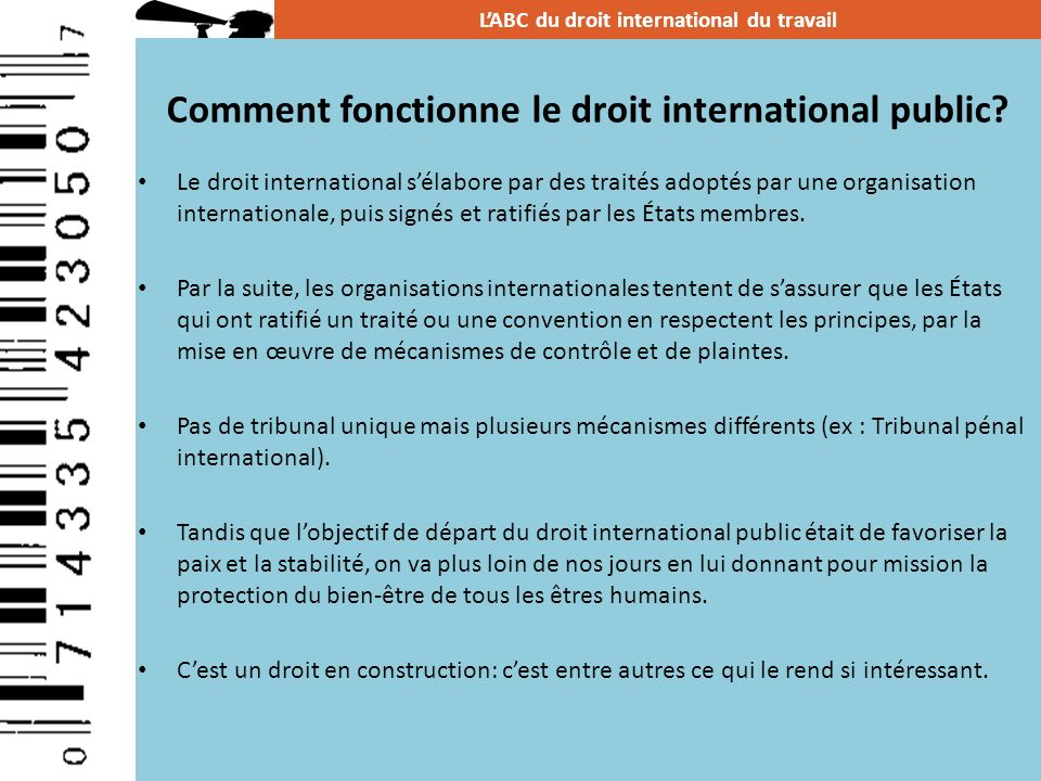 Comment fonctionne le droit international public