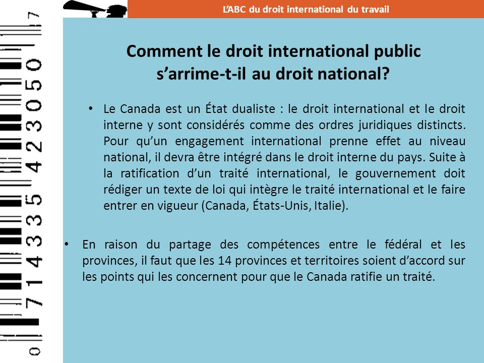 Comment le droit international public s'arrime-t-il au droit national