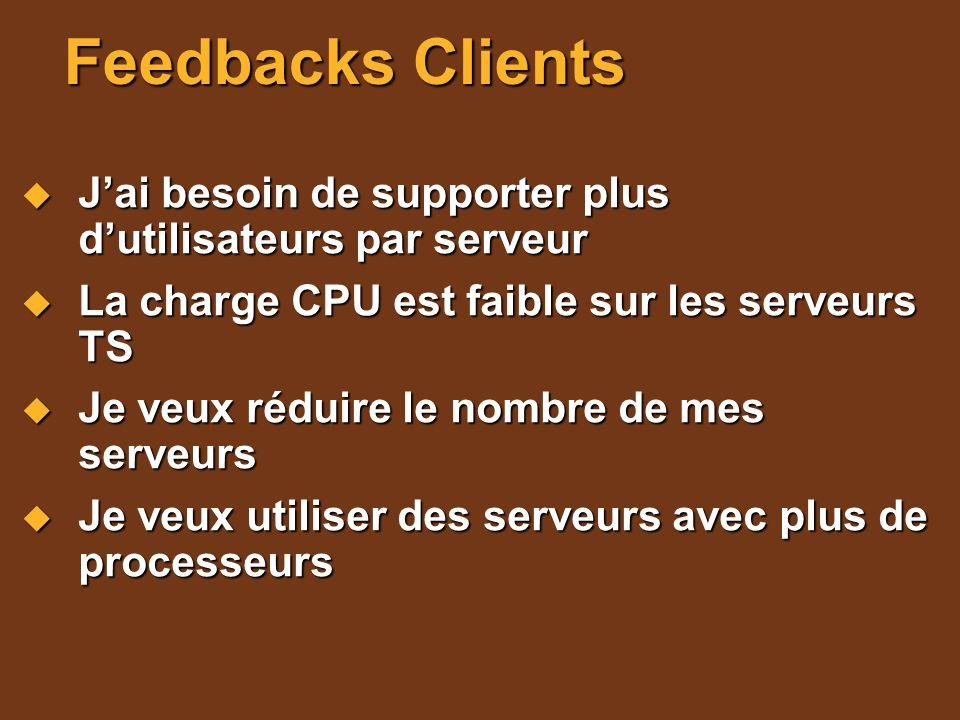 Feedbacks Clients J'ai besoin de supporter plus d'utilisateurs par serveur. La charge CPU est faible sur les serveurs TS.