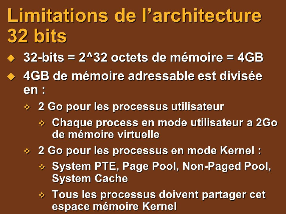Limitations de l'architecture 32 bits