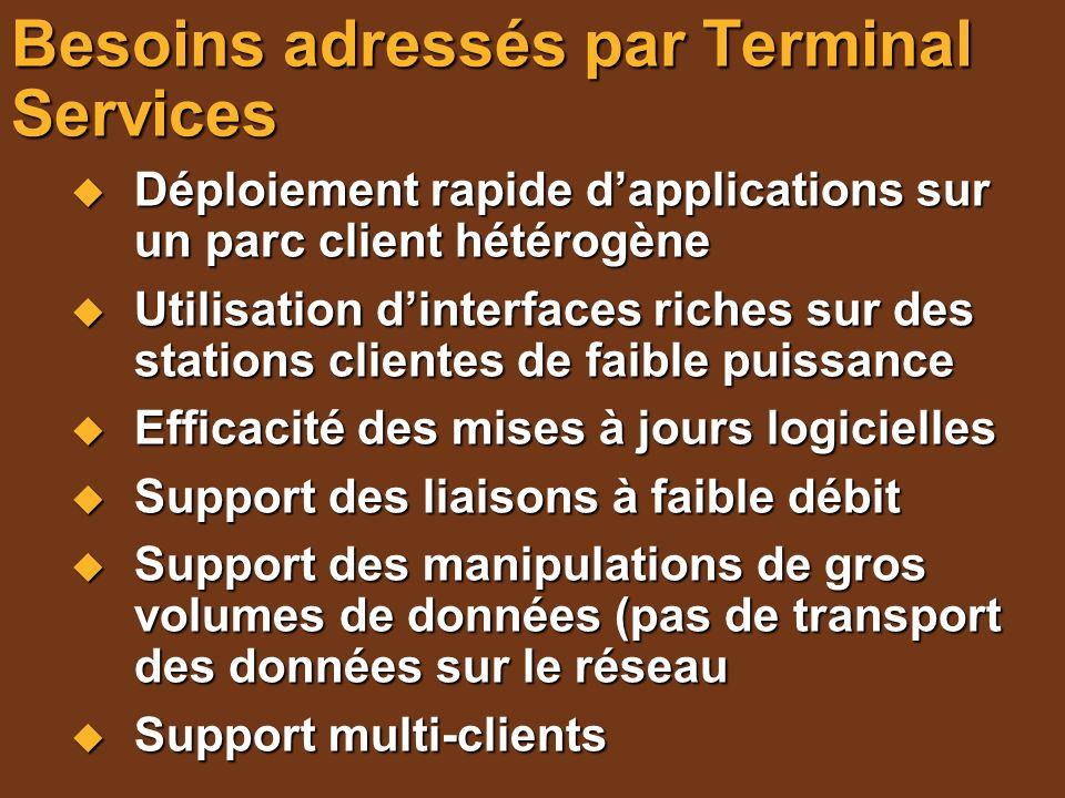 Besoins adressés par Terminal Services