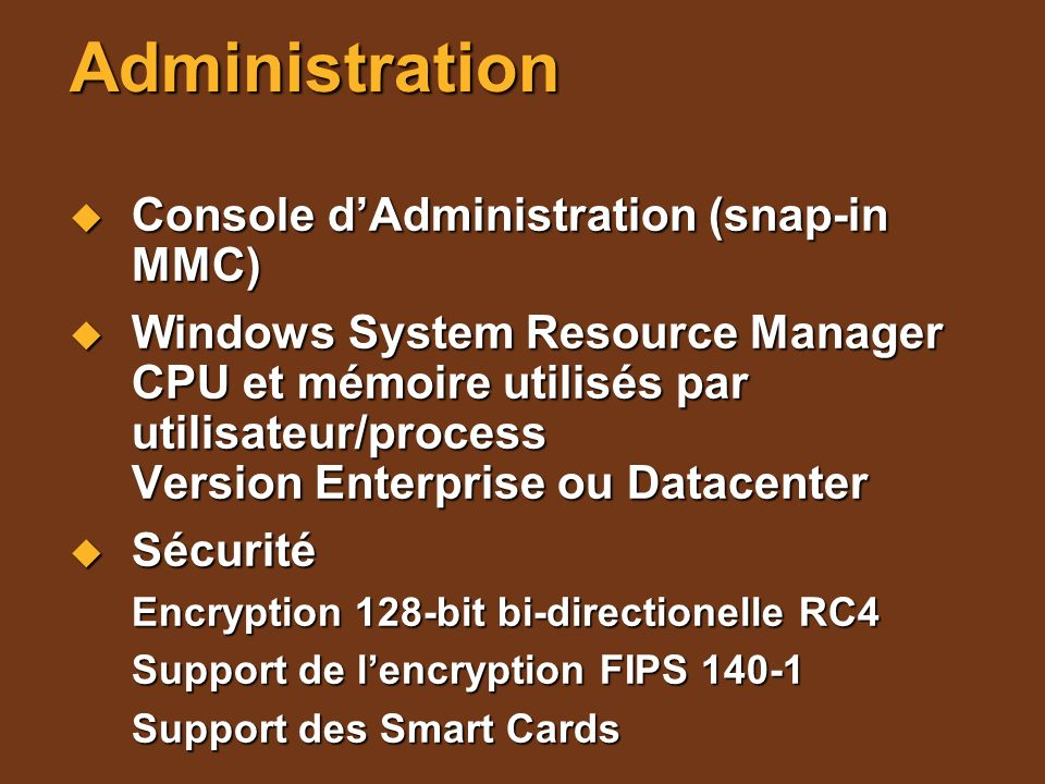 Administration Console d'Administration (snap-in MMC)