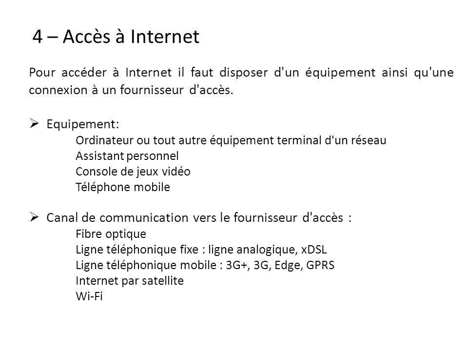 4 – Accès à Internet Pour accéder à Internet il faut disposer d un équipement ainsi qu une connexion à un fournisseur d accès.