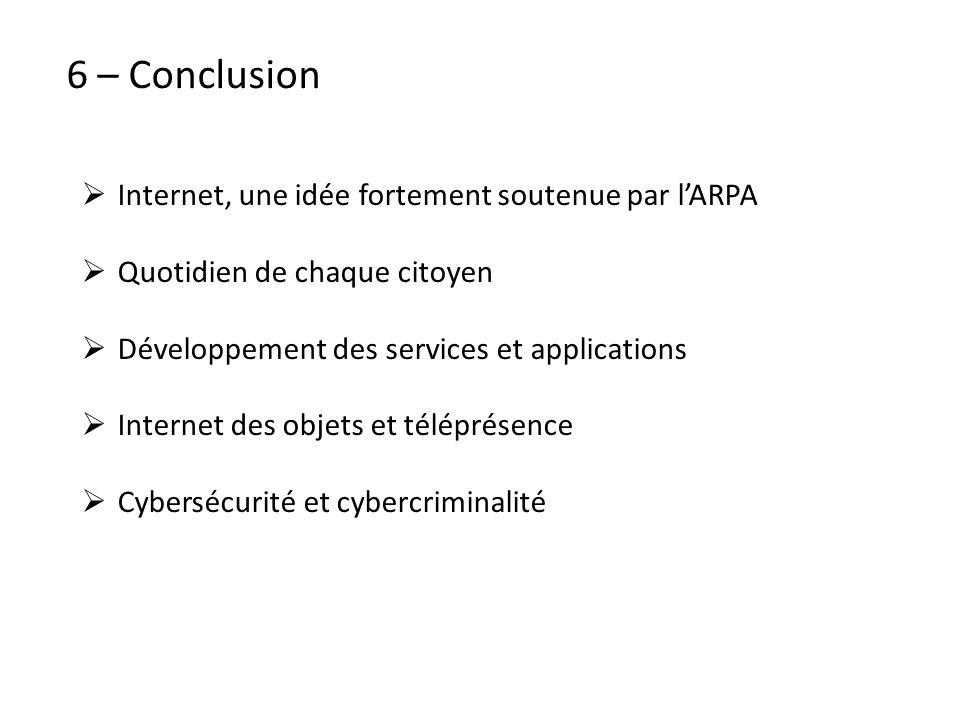 6 – Conclusion Internet, une idée fortement soutenue par l'ARPA. Quotidien de chaque citoyen. Développement des services et applications.