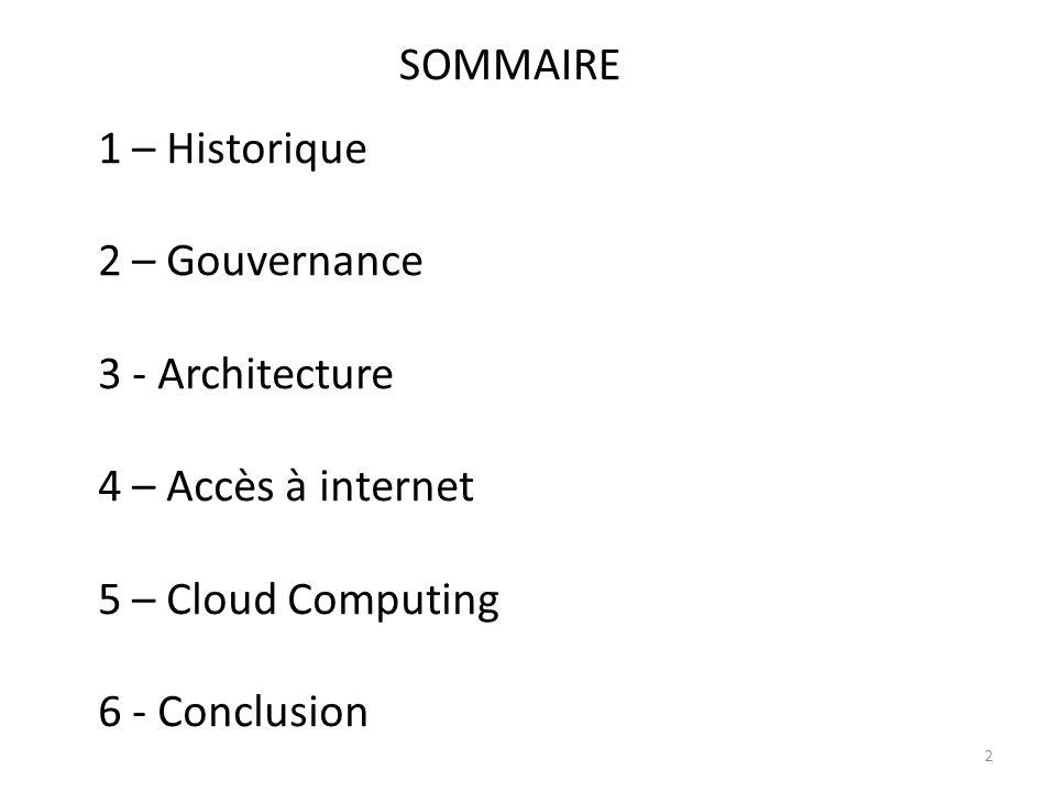 SOMMAIRE 1 – Historique. 2 – Gouvernance. 3 - Architecture. 4 – Accès à internet. 5 – Cloud Computing.
