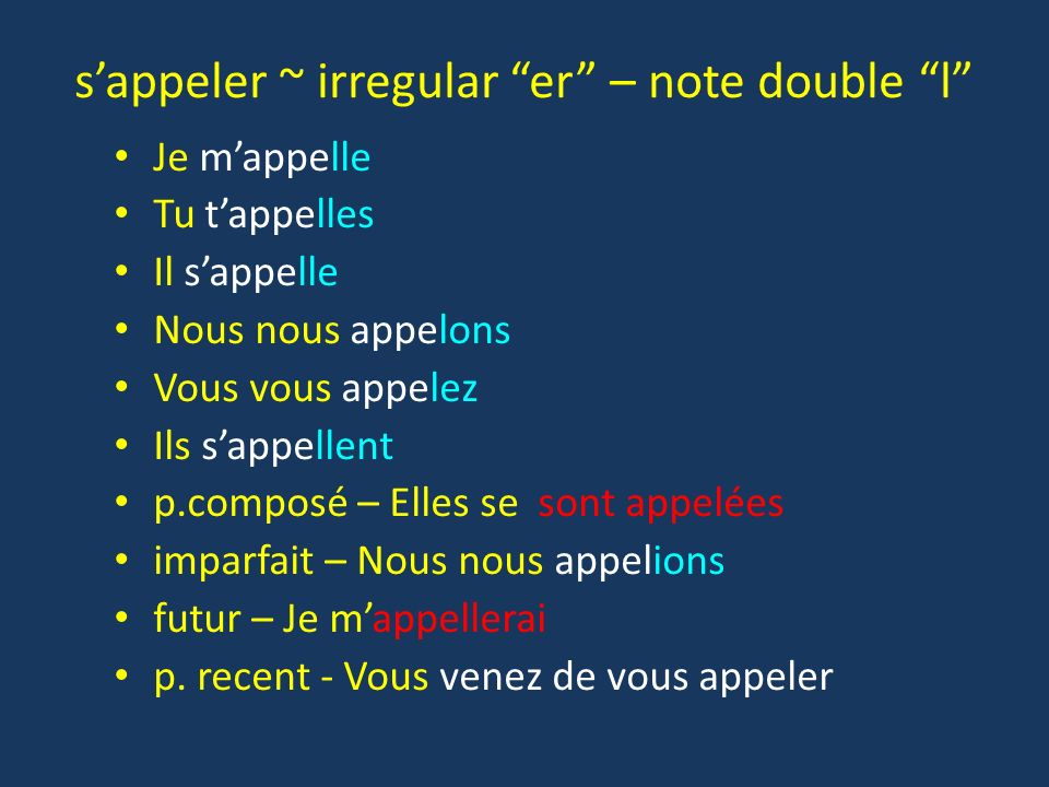 s'appeler ~ irregular er – note double l