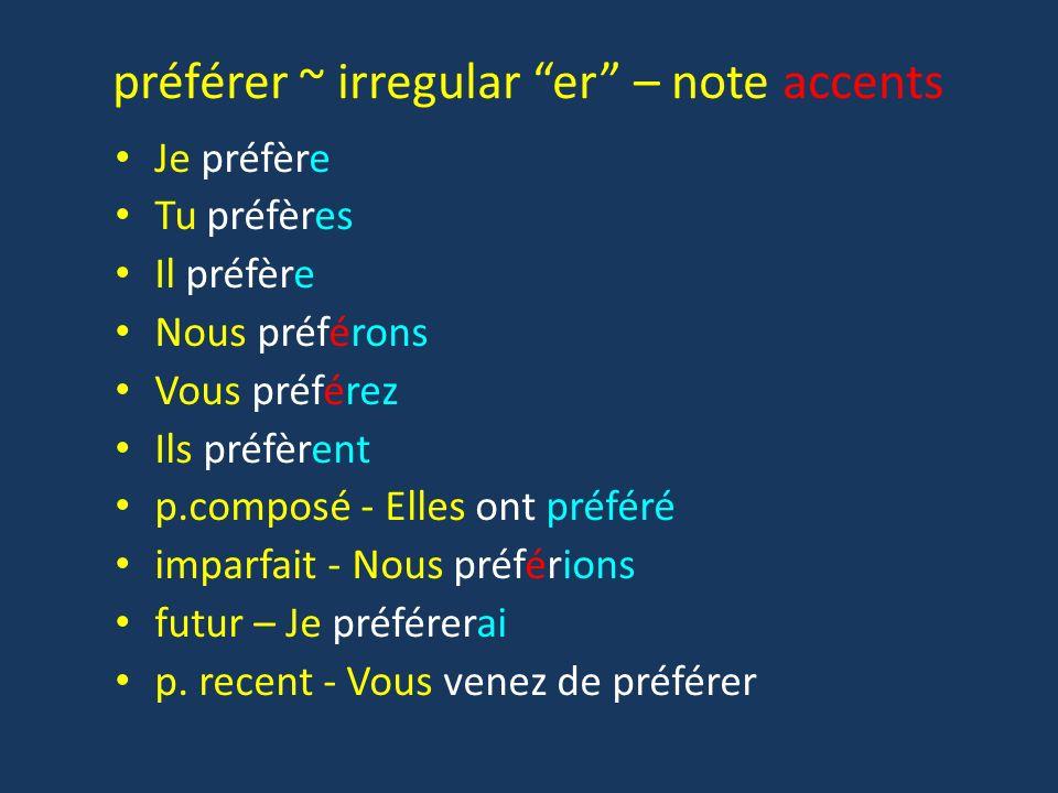 préférer ~ irregular er – note accents