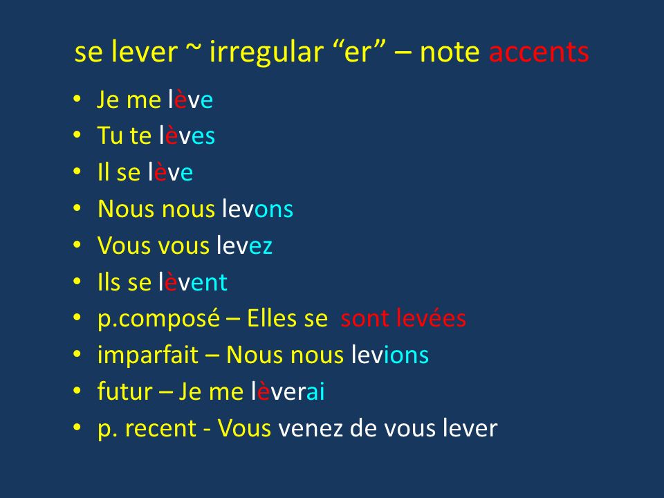 se lever ~ irregular er – note accents