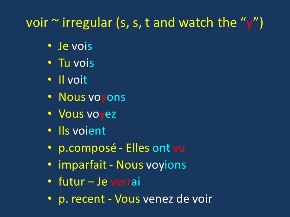 voir ~ irregular (s, s, t and watch the y )