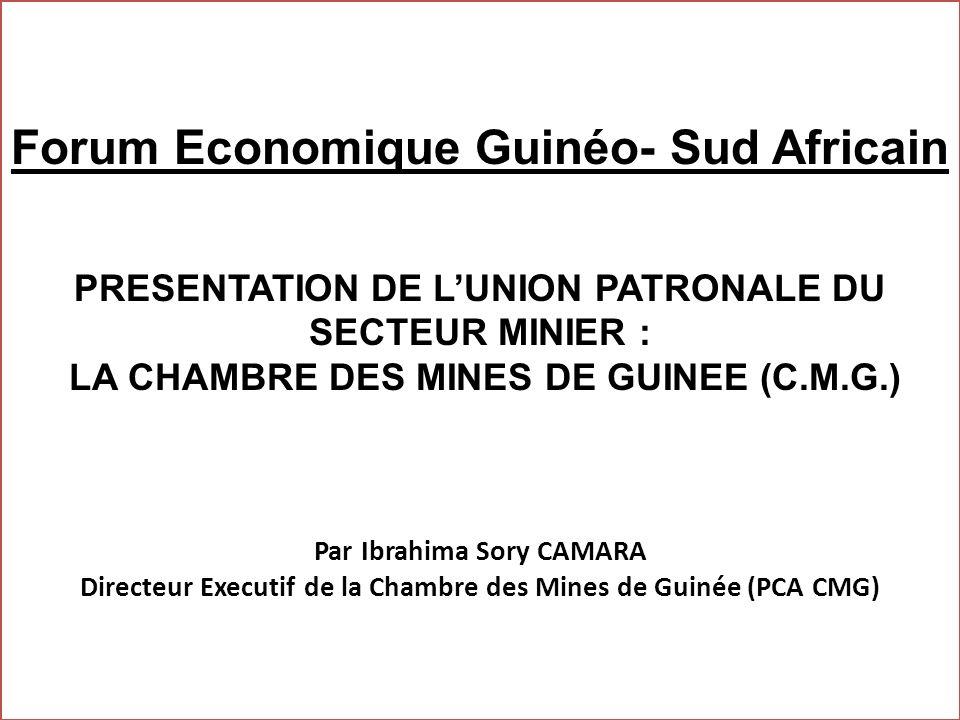 Forum Economique Guinéo- Sud Africain PRESENTATION DE L'UNION PATRONALE DU SECTEUR MINIER : LA CHAMBRE DES MINES DE GUINEE (C.M.G.) Par Ibrahima Sory CAMARA Directeur Executif de la Chambre des Mines de Guinée (PCA CMG)