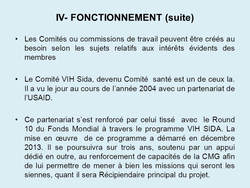 IV- FONCTIONNEMENT (suite)