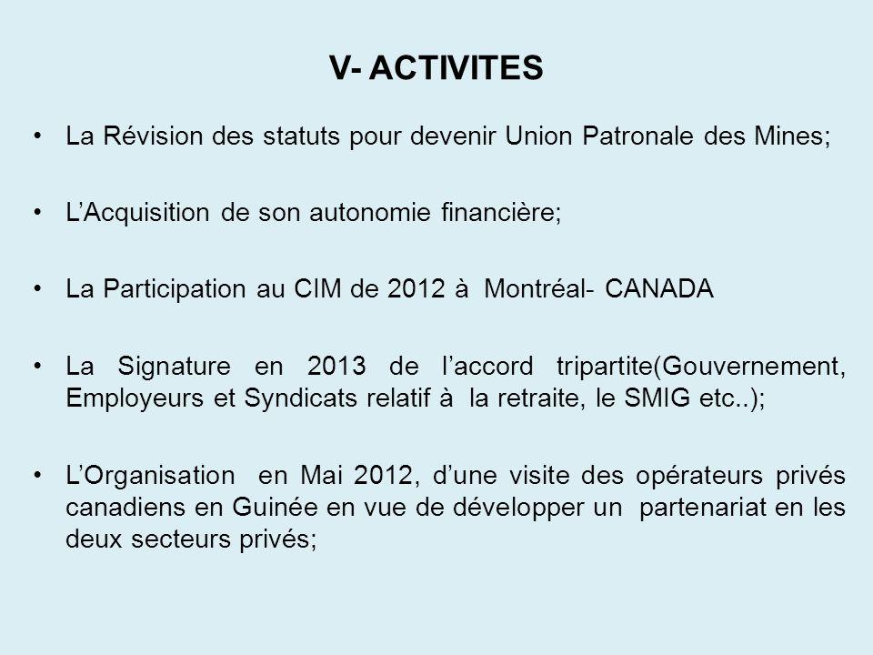 V- ACTIVITES La Révision des statuts pour devenir Union Patronale des Mines; L'Acquisition de son autonomie financière;