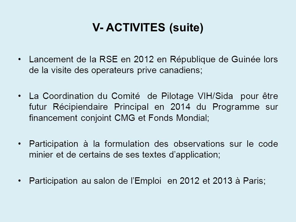 V- ACTIVITES (suite) Lancement de la RSE en 2012 en République de Guinée lors de la visite des operateurs prive canadiens;