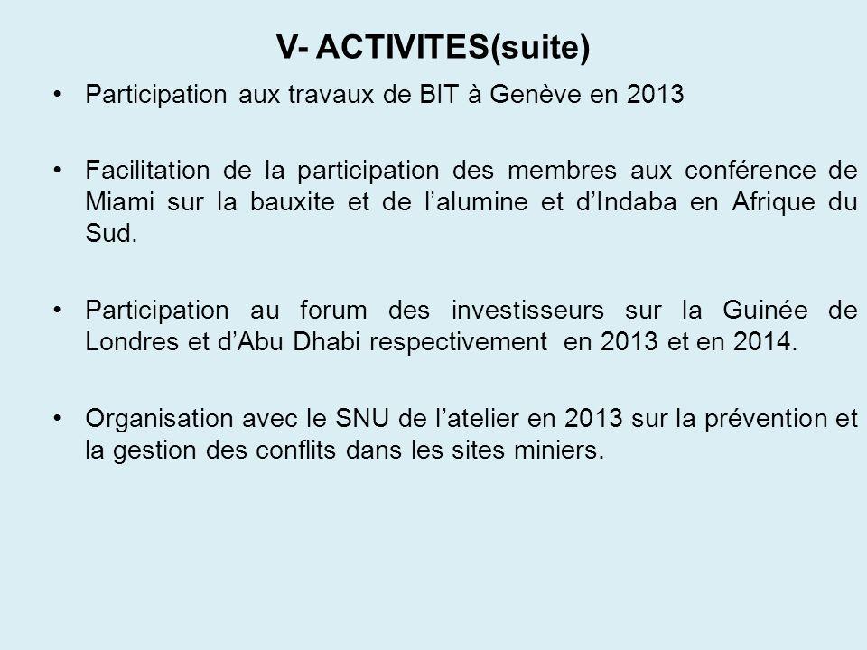 V- ACTIVITES(suite) Participation aux travaux de BIT à Genève en 2013