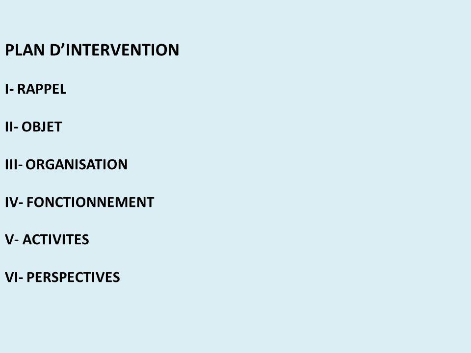 PLAN D'INTERVENTION I- RAPPEL II- OBJET III- ORGANISATION IV- FONCTIONNEMENT V- ACTIVITES VI- PERSPECTIVES