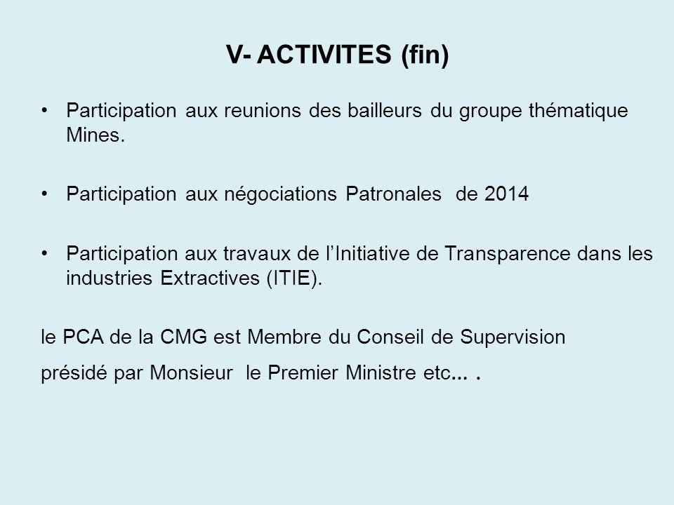 V- ACTIVITES (fin) Participation aux reunions des bailleurs du groupe thématique Mines. Participation aux négociations Patronales de 2014.
