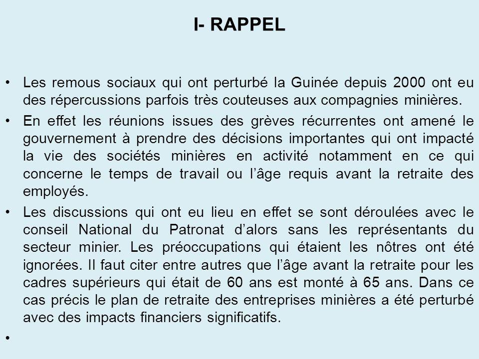 I- RAPPEL Les remous sociaux qui ont perturbé la Guinée depuis 2000 ont eu des répercussions parfois très couteuses aux compagnies minières.