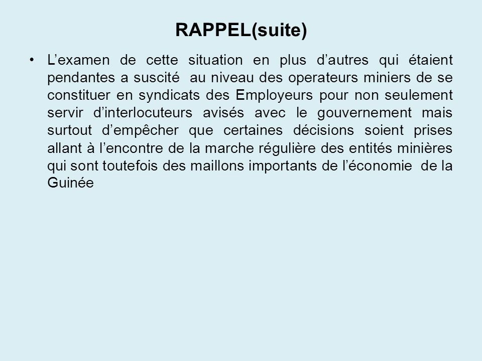 RAPPEL(suite)