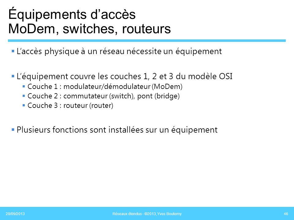 Équipements d'accès MoDem, switches, routeurs