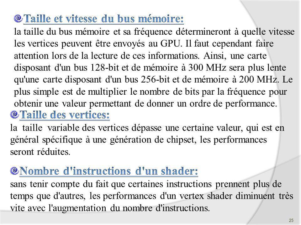 Taille et vitesse du bus mémoire: la taille du bus mémoire et sa fréquence détermineront à quelle vitesse les vertices peuvent être envoyés au GPU. Il faut cependant faire attention lors de la lecture de ces informations. Ainsi, une carte disposant d un bus 128-bit et de mémoire à 300 MHz sera plus lente qu une carte disposant d un bus 256-bit et de mémoire à 200 MHz. Le plus simple est de multiplier le nombre de bits par la fréquence pour obtenir une valeur permettant de donner un ordre de performance.