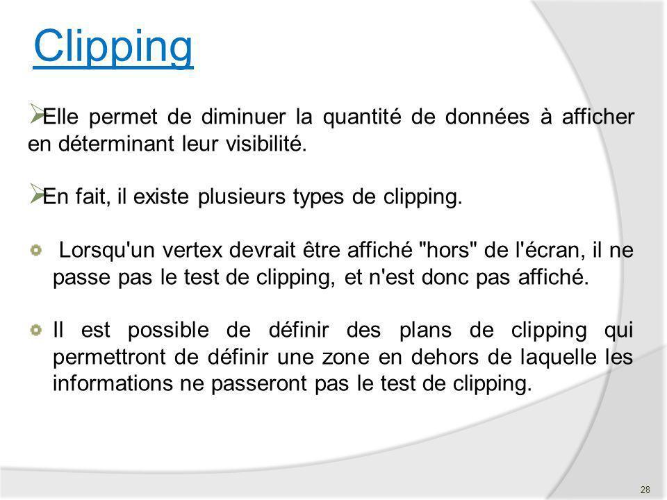 Clipping Elle permet de diminuer la quantité de données à afficher en déterminant leur visibilité. En fait, il existe plusieurs types de clipping.