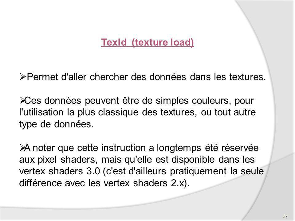 Texld (texture load) Permet d aller chercher des données dans les textures.