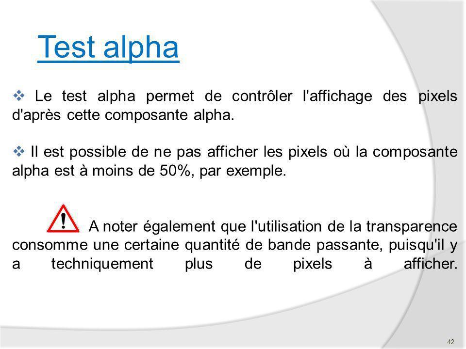 Test alpha Le test alpha permet de contrôler l affichage des pixels d après cette composante alpha.