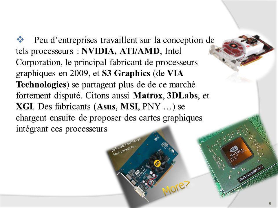 Peu d'entreprises travaillent sur la conception de tels processeurs : NVIDIA, ATI/AMD, Intel Corporation, le principal fabricant de processeurs graphiques en 2009, et S3 Graphics (de VIA Technologies) se partagent plus de de ce marché fortement disputé.