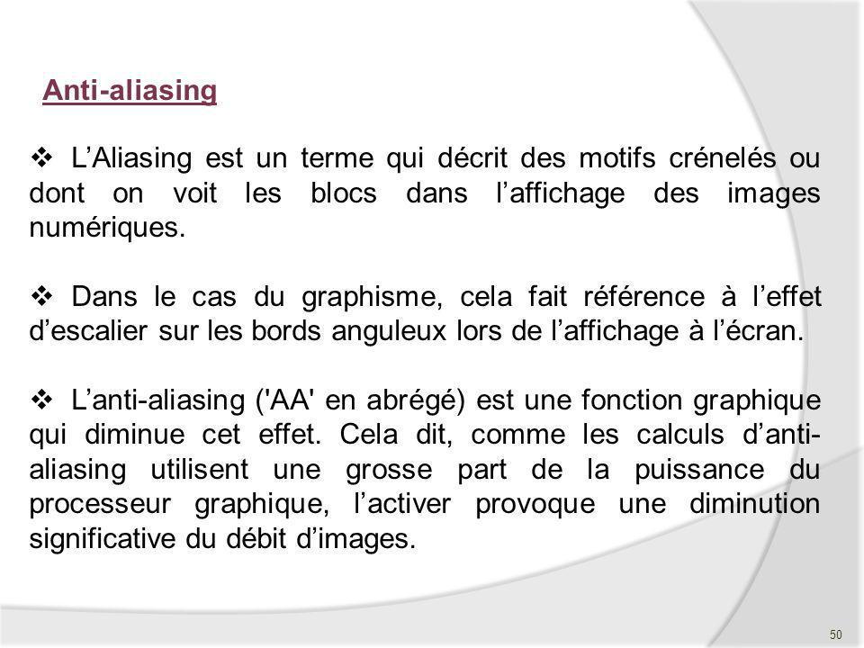 Anti-aliasing L'Aliasing est un terme qui décrit des motifs crénelés ou dont on voit les blocs dans l'affichage des images numériques.