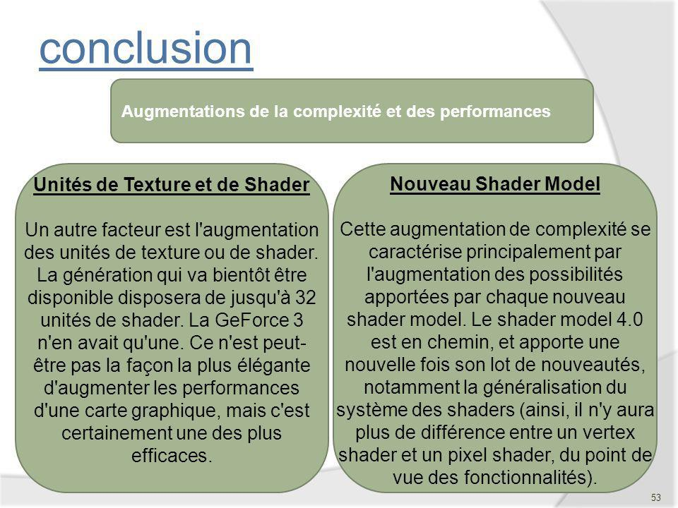 conclusion Augmentations de la complexité et des performances.