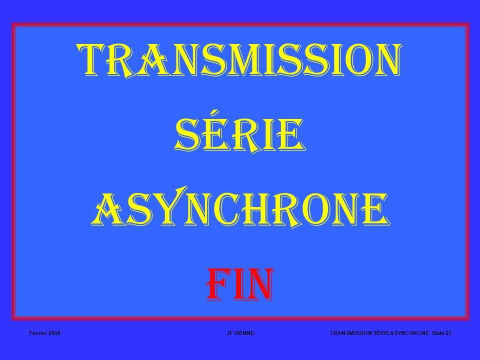 TRANSMISSION SÉRIE ASYNCHRONE FIN Février 2008 JF VIENNE